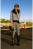 black franco sarto boots - heather gray romeo & juliet leggings
