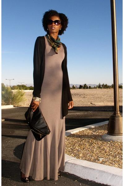 Black Clutch Top Purse Heather Gray Maxi Dress Go Couture