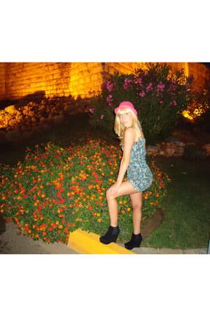 floral Bershka dress - coral hat - wedges