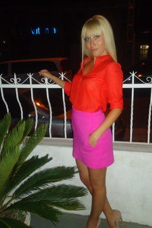 orange Zara shirt - pink Zara skirt - nude Aldo heels