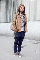 nude Pull and Bear coat - heather gray Zara bag - silver vintage hoodie - heathe