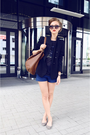 black Zara jacket - burnt orange Zara bag - blue Zara shorts - black Mango glass