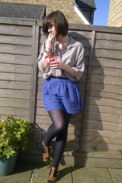 beige vintage blouse - blue Topshop skirt - brown thrifted shoes