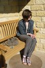 Gray-pants-beige-vest-vintage-jacket-necklace-dorothy-perkins-shoes