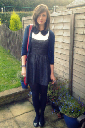 gray Topshop dress - blue H&M cardigan - red Dorothy Perkins bag - black new loo