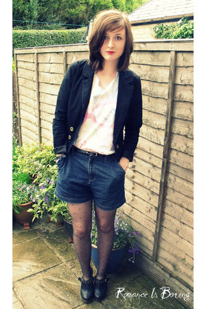 black Primark shoes - blue vintage shorts - white DIY t-shirt - black H&M blazer