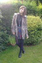 brown Topshop coat - vintage skirt - Primark clogs