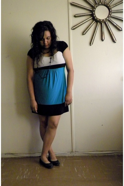 black H&M shoes - turquoise blue Old Navy dress - black necklace
