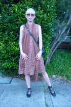 gold vintage from Ebay dress - black shoes - burnt orange long scarf