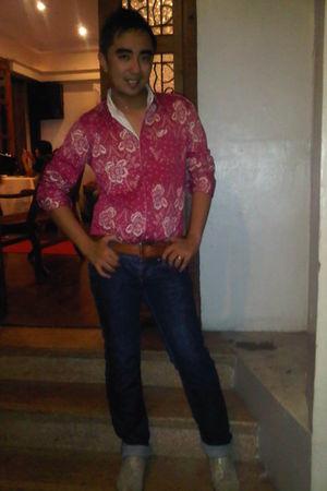 pink Soda shirt - Marks & Spencer belt - Miss Sixty jeans - k-bond  people r peo