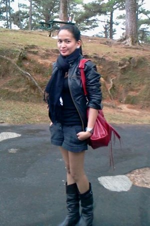leather jacket Zara jacket - Mango shorts - basic H&M t-shirt