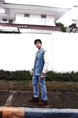 sky blue Zara jeans - sky blue Topman jacket - sky blue Topman top