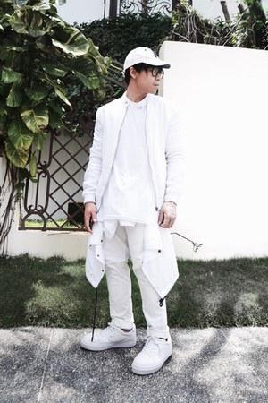 white Bershka shoes - white H&M hat - white Zara jacket