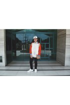 F&H jacket - black Topman jeans - white H&M hat - tan Flying Dutchman bag