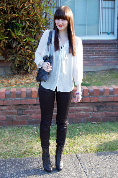 Forever New blouse - Lee jeans - zu boots - Marc Jacobs purse - various markets
