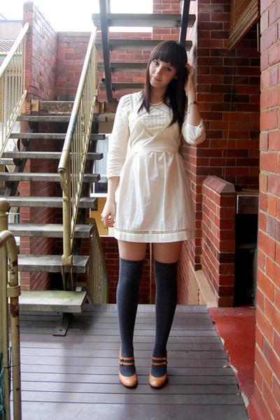 brown zu shoes - beige Sportsgirl dress - gray Sportsgirl socks