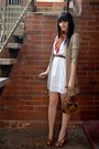 White-minkpink-dress-beige-jeans-west-cardigan-brown-betts-shoes-brown-spo