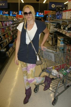 purple Urban Outfitters leggings - purple vintage ebay boots