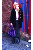 purple Miu Miu bag - black Rockport boots - black vintage ebay coat