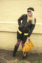 black banana republic dress - yellow Gap scarf - black Marc by Marc Jacobs leggi