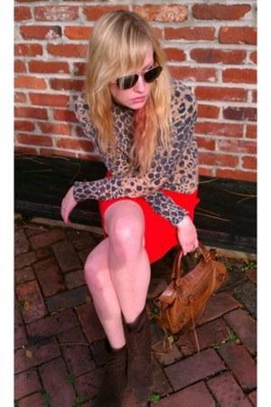 brown sweater - dark brown boots - brown balenciaga bag - gold TOMS sunglasses