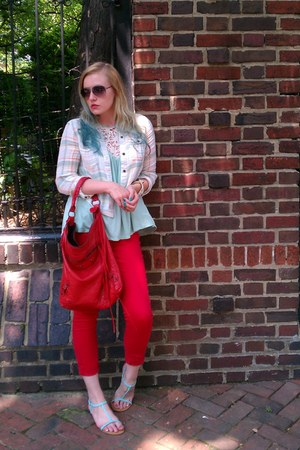 red Gap jeans - ivory free people shirt - red balenciaga bag