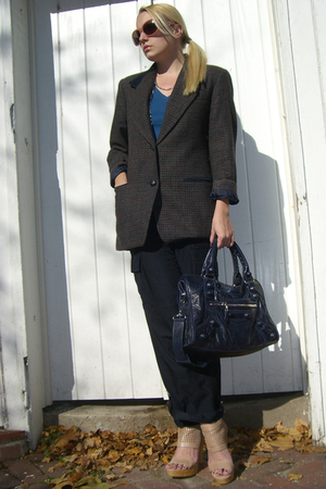 banana republic pants - vintage blazer - Gap t-shirt - balenciaga purse - D&amp;G ne
