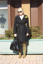 gold vintage boots - yellow rag & bone pants - black Gap coat - black YSL purse