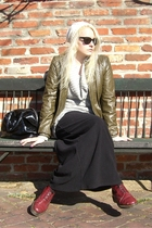 black skirt - green jacket - red doc martens boots - beige NY&CO hat - black YSL