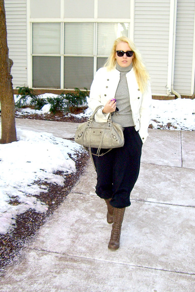 black Theory pants - white anne taylor loft jacket - brown fiorentinibaker boots