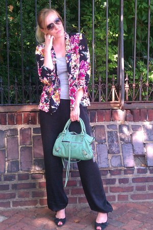 black Urban Outfitters blazer - aquamarine balenciaga bag - black BCBG pants