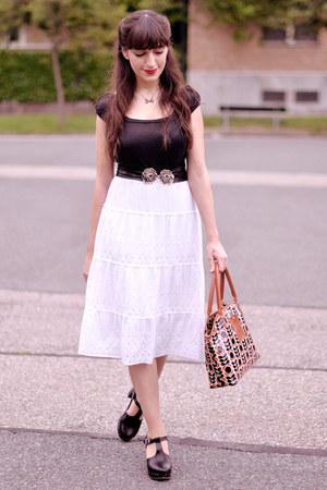 white vintage skirt - black Swedish Hasbeens shoes - ruby red Orla Kiely bag