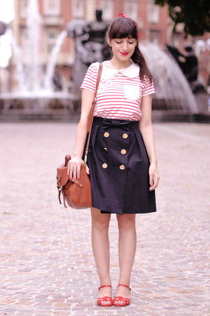 navy Orla Kiely skirt - brown Lush bag - ruby red pepa loves blouse