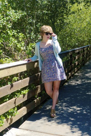eggshell dress - leggings - black Forever 21 sunglasses - camel Dollhouse wedges