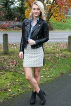 charcoal gray tweed H&M skirt - black leather straps Steve Madden boots