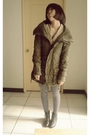 Green-jacket-silver-tights-black-boots-beige-vest-silver-top