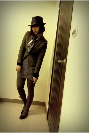 black blouse - brown blazer - silver skirt - gray tights - black shoes