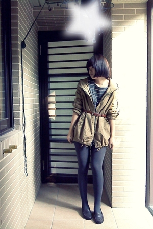 gray top - brown jacket - gray tights - brown shoes - brown belt