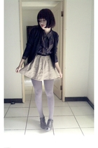 purple blouse - black sweater - beige skirt - purple tights - gray shoes