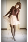 Red-shirt-red-sweater-pink-skirt-black-tights-brown-shoes-brown-purse