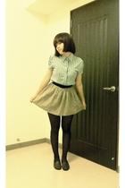 blue blouse - beige skirt - black tights - brown shoes