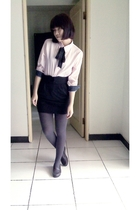 pink shirt - black skirt - gray tights - brown shoes