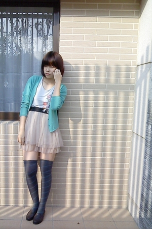 blue top - blue sweater - beige skirt - gray socks - brown shoes