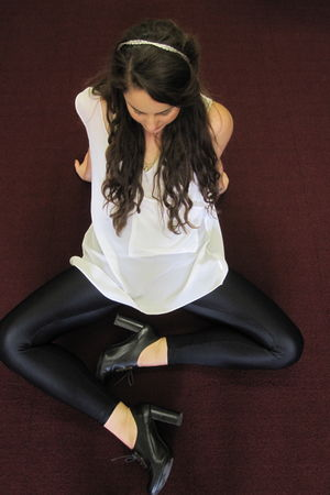 silver accessories - white shirt - black leggings - black shoes