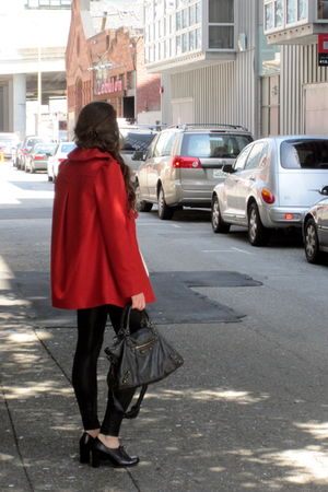 red French Connection jacket - black American Apparel leggings - black balenciag