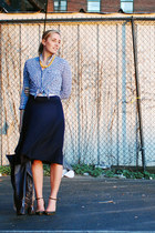 navy JCrew shirt - navy JCrew skirt - forest green Zara wedges