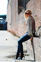 silver glitter heels Zara heels - navy skinny jeans j brand jeans