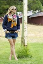 hot pink Zara scarf - navy polka dot Club Monaco sweater