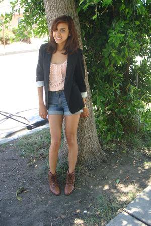 pink Forever21 shirt - black vintage blazer - blue Heritage 81 Forever 21 shorts