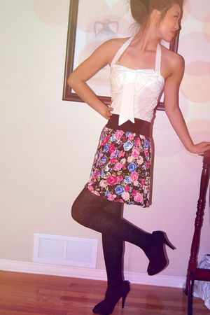 pink H&M skirt - black Paprika shoes - white top - black tights